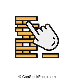 Jenga, board games flat color line icon.