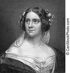 Jenny Lind (1820-1887) on engraving from 1859. Swedish opera singer. Engraved by N.Afinger and published in Meyers Konversations-Lexikon, Germany,1859.