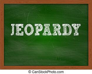 JEOPARDY handwritten text on green chalkboard - JEOPARDY...