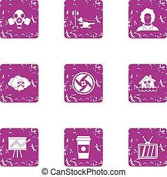 Jeopardy icons set, grunge style - Jeopardy icons set....