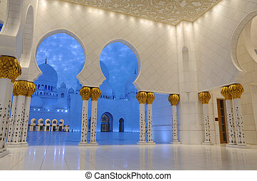 jeque, dusk., unido, iluminado, zayed, mezquita, árabe,...