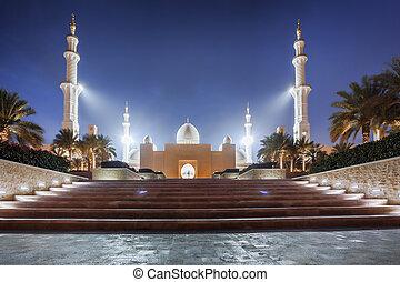 jeque, unido, emiratos, zayed, mezquita, árabe, medio, abu...