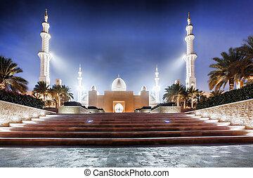 jeque, unido, emiratos, zayed, mezquita, árabe, medio, abu dhabi, este