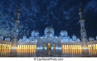 jeque, unido, zayed, mezquita, árabe, emiratos, abu dhabi,...