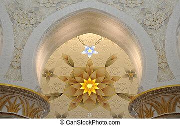 jeque, unido, zayed, mezquita, árabe, interior, emiratos, ...