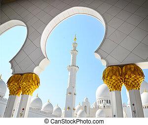 jeque, zayed, detalle, mezquita
