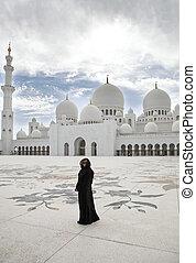 jeque, zayed, mujer, mezquita, abu-dhabi