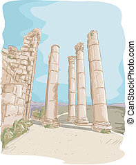 Jerash Ruins - Illustration Featuring the Jerash Pillar...