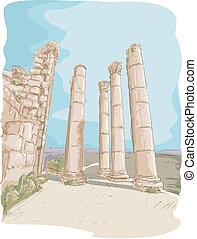 Illustration Featuring the Jerash Pillar Ruins in Jordan