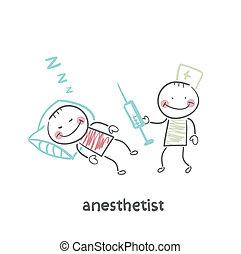 jeringuilla, anestesiólogo, paciente, sueño, luego