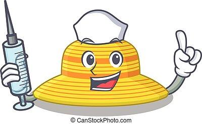 jeringuilla, diseño, sombrero, verano, enfermera, humilde, mascota