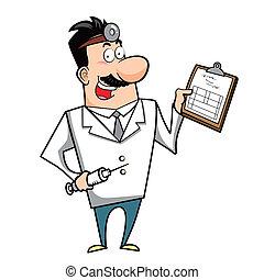 jeringuilla, portapapeles, caricatura, doctor