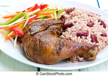 Jerk Chicken with Rice - Caribbean Style - Caribbean style...