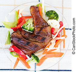Jerk Chicken with Vegetables - Barbecued chicken leg also...