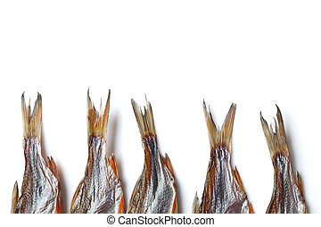 Jerky or dried salted roach tails, clipfish isolated on ...
