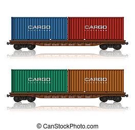 jernbane, flatcars, beholdere