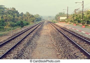 jernbane, hos, thailand, tog, station.