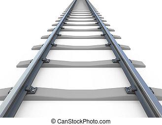 jernbane, hvid, isoleret