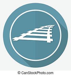 jernbane, hvid, længe, skygge, cirkel, ikon