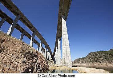 jernbane, og, hovedkanalen, broer