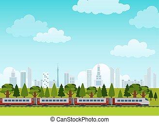 jernbane, og, tog, rides., plakat