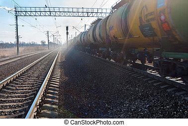 jernbane, tank