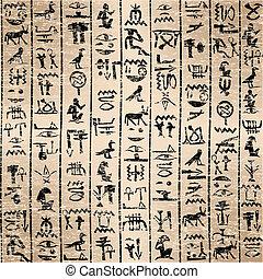 jeroglíficos, grunge, plano de fondo, egipcio