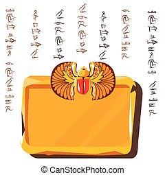 jeroglíficos, tabla, egipcio, tableta, arcilla, piedra