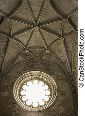 Jeronimos Monastery, Lisbon. - Ceiling and window in...