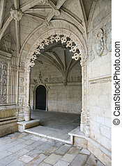jeronimos, puerta, monastery., arqueado, florido