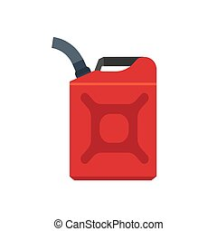 Jerry can red canister diesel handle flat cap jug vector icon. Produce machine gallon fuel. Car cantainer motor oil