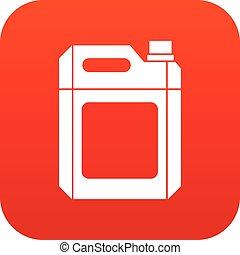 jerry, plástico, lata, digital, rojo, icono