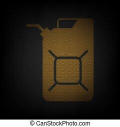 jerrycan, cuadrícula, icono, pequeño, darkness., illustration., naranja, jerry, aceite, luz, lata, signo., bombilla