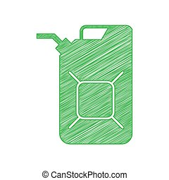 jerrycan, fondo., blanco, aceite, contorno, icono, verde, garabato, jerry, illustration., lata, signo., sólido
