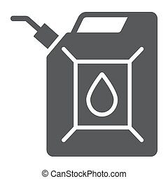 Jerrycan glyph icon, canister and container, fuel tank sign, vector graphics, a solid pattern on a white background.