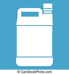 Jerrycan icon white isolated on blue background vector ...