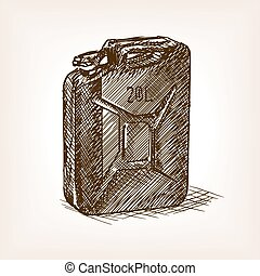 Jerrycan sketch style vector illustration