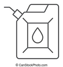 Jerrycan thin line icon, canister and container, fuel tank sign, vector graphics, a linear pattern on a white background.