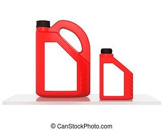 jerrycans, 엔진 기름, 차, -, 고립된