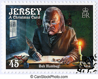JERSEY - CIRCA 2012: A stamp printed in Jersey shows illustrations from A Christmas Carol, 200th anniversary of Charles Dickens(1812-1870), circa 2012