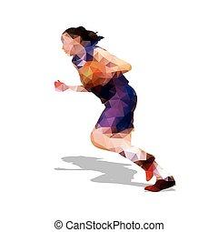 jersey., basquetebol, silueta, abstratos, jovem, jogador, polygonal, ativo, vetorial, escuro, menina
