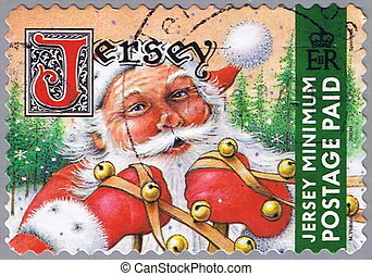 Santa Claus - JERSEY - CIRCA 2002: A stamp printed in Jersey...