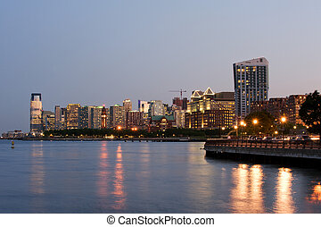 Jersey city downtown - Jersey city skyline at dusk, New...