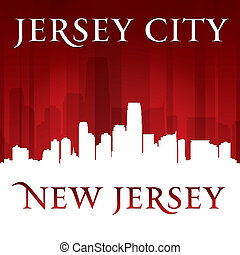 Jersey city New Jersey skyline silhouette red background