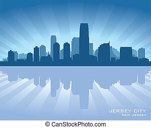 Jersey City, New Jersey skyline silhouette. Vector...