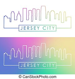 Jersey City skyline. Colorful linear style.