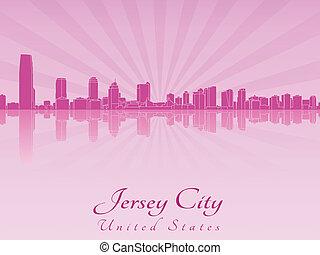 Jersey City skyline in purple radiant orchid