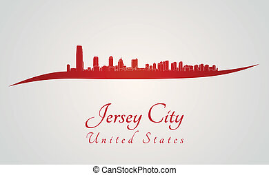 Jersey City skyline in red