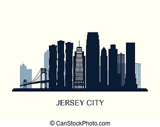 Jersey City skyline, monochrome silhouette.