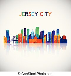 Jersey City skyline silhouette in colorful geometric style.
